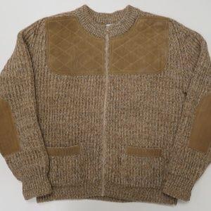 Brenire Shetland Wool Zip Leather Patch Sweater